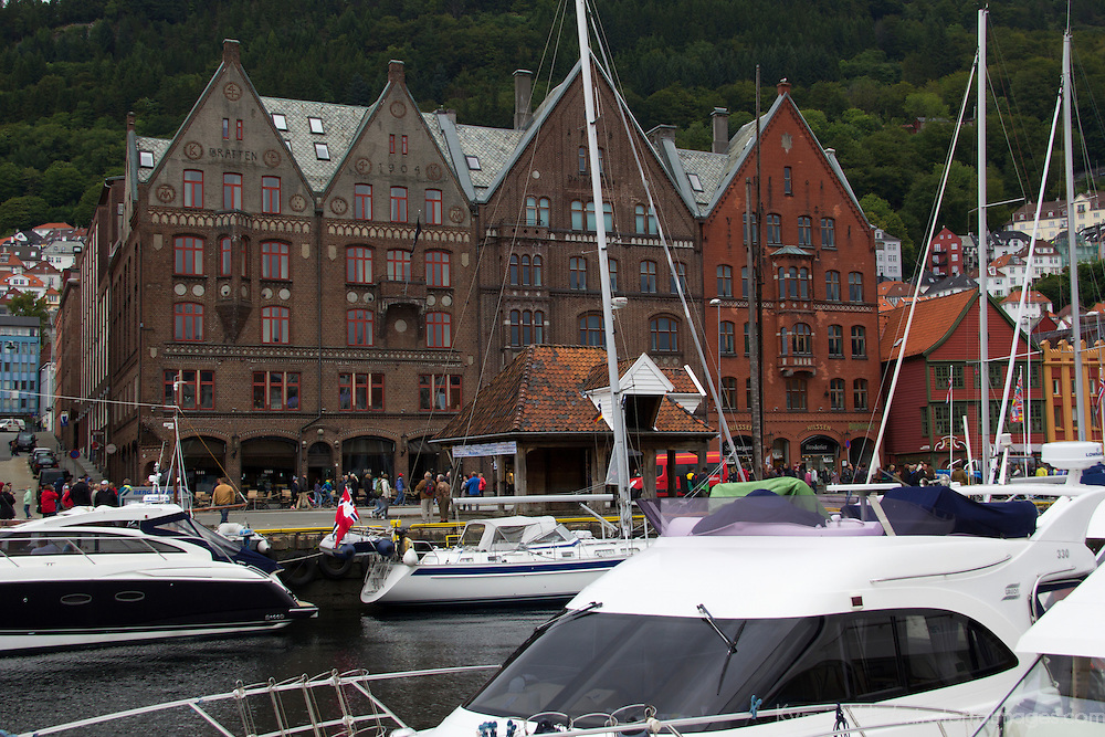 Europe, Norway, Bergen. Bryggen, a UNESCO World Heritage Site.