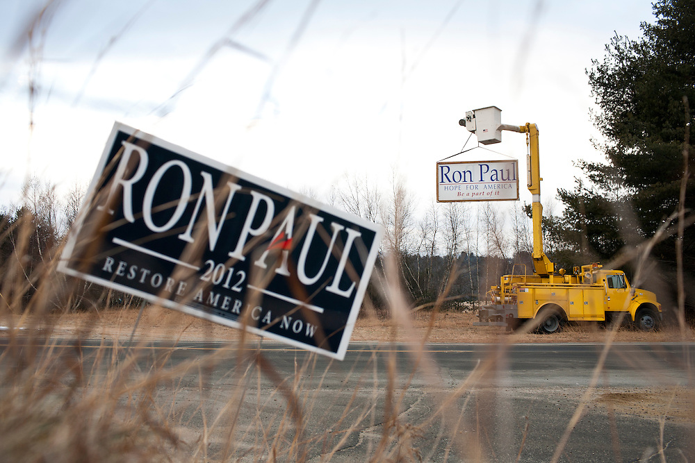 Signs for Republican presidential candidate Ron Paul hang outside the the Grafton Fire Station on Tuesday, January 10, 2012 in Grafton, NH. Brendan Hoffman for the New York Times