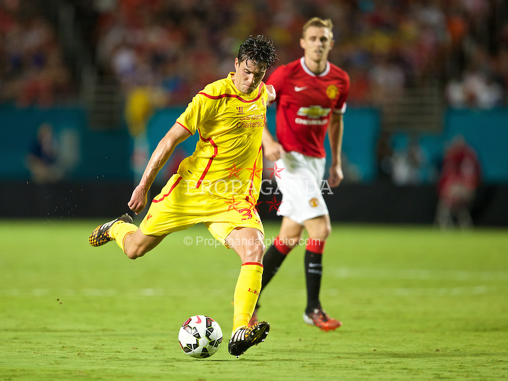 MIAMI, USA - Monday, August 4, 2014: Liverpool's Martin Kelly in action against Manchester United during the International Champions Cup Final match at the SunLife Stadium on day fifteen of the club's USA Tour. (Pic by David Rawcliffe/Propaganda)