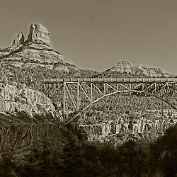 Midgley Bridge sits just north of the historic uptown Sedona shops on 89a. The bridge stretches over the mouth of Wilson Canyon as it connect into Oak Creek. Built in 1939.