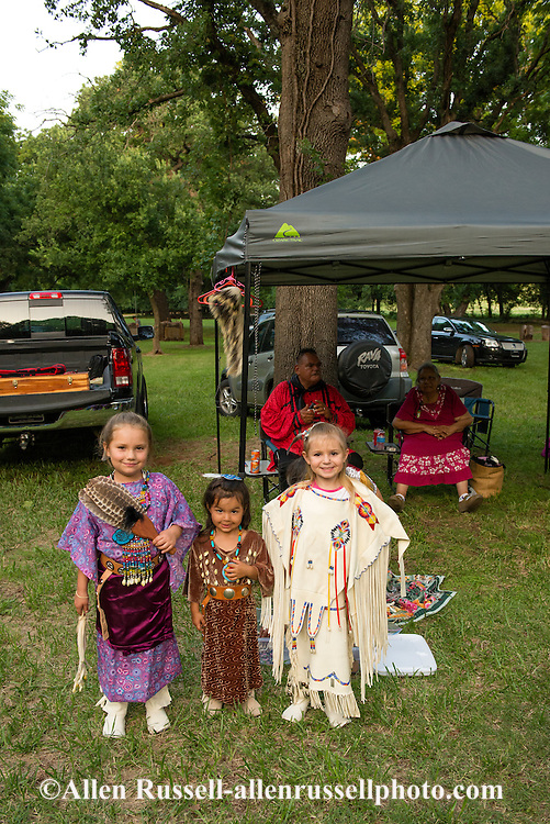 Caddo Indians, Native Americans, kids, girl, grandaughters of Caddo Nation Vice Chairman Philip Smith, J T Morrow Pow Wow, Binger Oklahoma