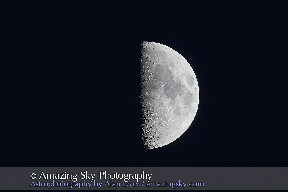 First Quarter Moon taken with Astro-Physics 130mm apo refractor at f/6 with Canon 7D camera at ISO 100 and 1/160 second. Taken in dark sky.