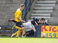 Raith Rovers Grant Anderson tackled..Raith Rovers 0 v 0 Falkirk, 27/4/2013..© Michael Schofield.