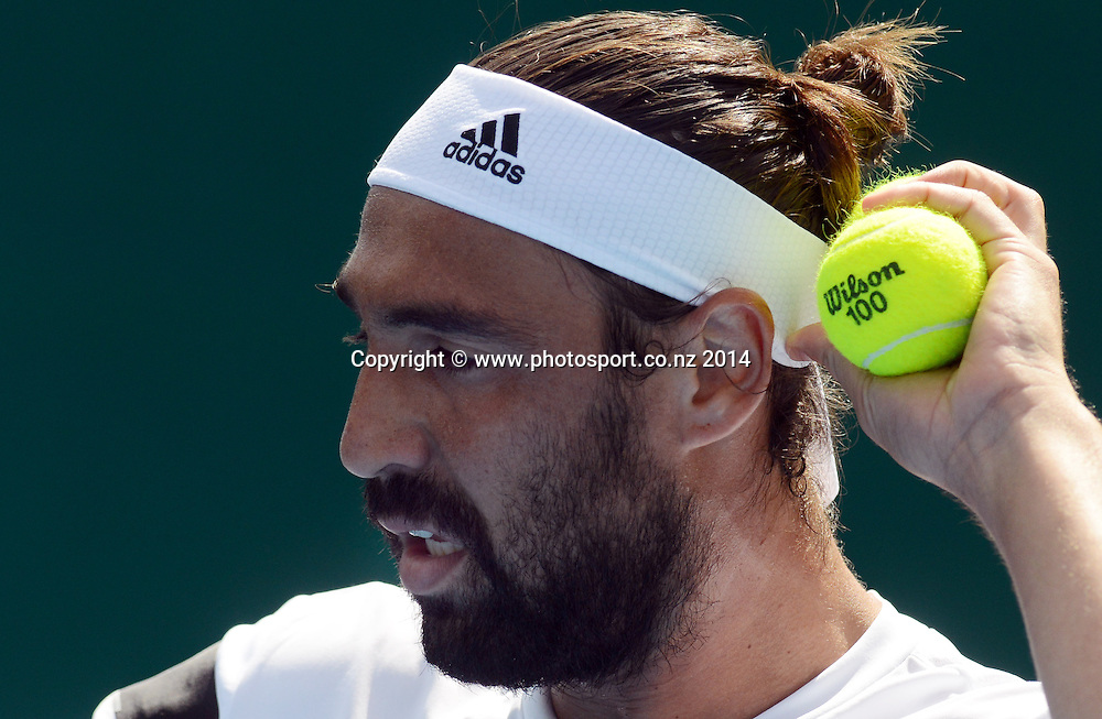Cyprus' Marcos Baghdatis in action during his singles match on Day 3 at the 2014 Heineken Open. ASB Tennis Centre, Auckland. New Zealand. Wednesday 8 January 2014. Photo: Andrew Cornaga/www.photosport.co.nz