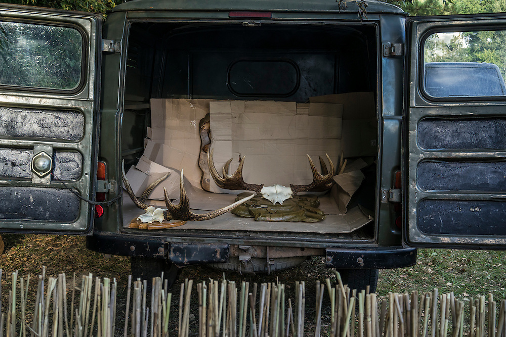 Mounted trophies in a van during a hunting festival near the Augustów Canal on Saturday, September 17, 2016 in Grodno, Belarus.