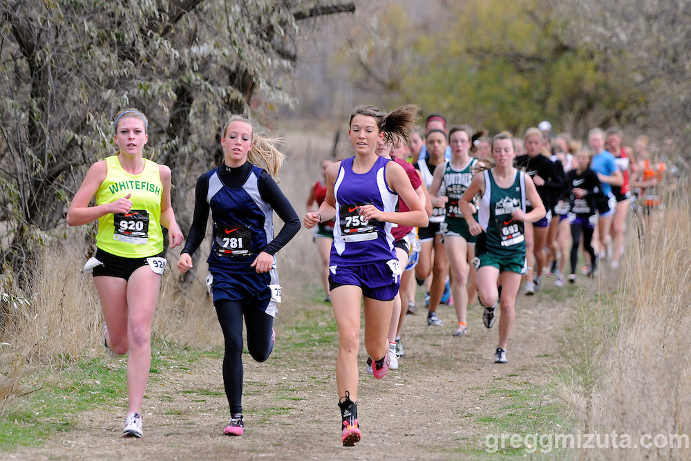 The lead pack, (L to R) Jessica Sayer, Tylee Newman, and Jocelyn Allen, 800 meters into the girl's open race during the Nike Cross Northwest Regional XC Championships at Eagle Island State Park on November 13, 2010. The three would hold their positions with Newman (19:33.6) winning the race followed by Allen and Sayer.