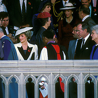 Princess of Wales Diana Spencer during her November 1985 visit to Washington, DC that included a service at the National Cathedral. George H.W. and Barbara Bush stand to the right.