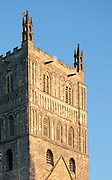 "Exterior of south facing facade of Tewkesbury tower Abbey  dating from 1150  rated ""probably the largest and finest Romanesque tower in England"" by Sir Nikolaus Pevsner."