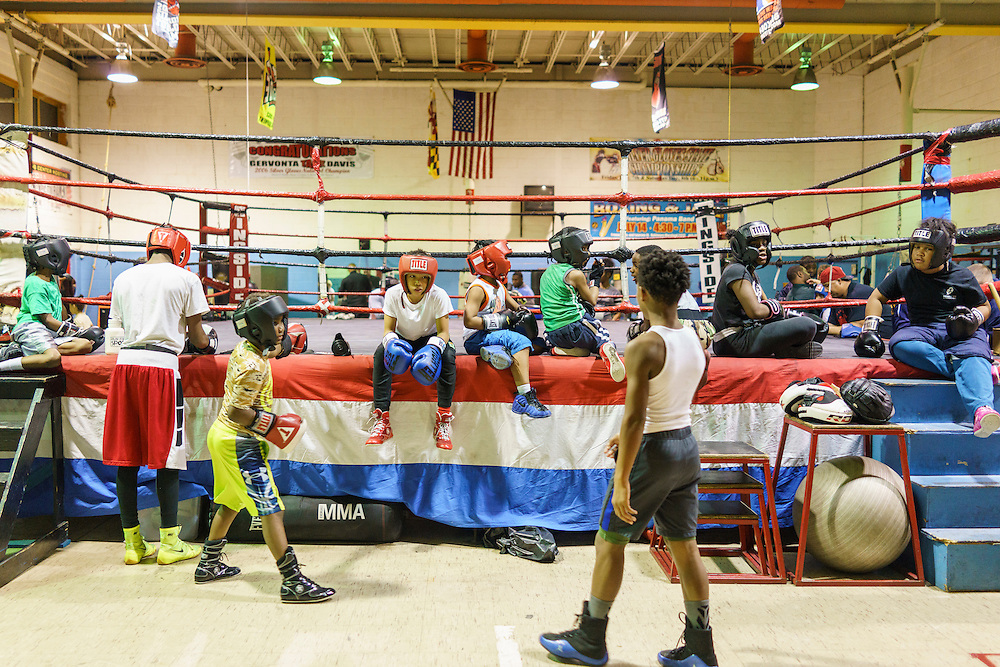 Baltimore, Maryland - January 26, 2017: Boxers wait for sparring to start at the Upton Boxing Club in Baltimore Thursday January 26, 2017.<br /> <br /> <br /> CREDIT: Matt Roth for The New York Times<br /> Assignment ID: