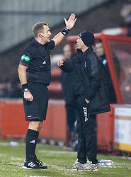 Ref Tumilty sends ALAN LAWRENCE to the stand..Airdrie United 1 v 4 Falkirk, 22/12/2012..©Michael Schofield.