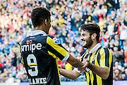 ARNHEM - Vitesse - FC Groningen , Voetbal , Eredivisie, Seizoen 2015/2016 , Gelredome , 03-10-2015 , Vitesse speler Valeri Qazaishvili (r) viert zijn doelpunt voor de 3-0 met Vitesse speler Dominic Solanke (l)