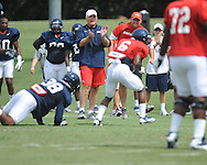 Ole Miss assistant coach Dave Wommack at football practice in Oxford, Miss. on Sunday, August 4, 2013.