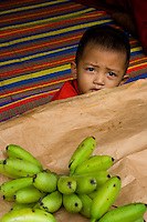 A young Malaysian boy looking over a table with bananas on it.