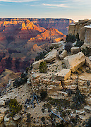 Sunrise on Vishnu Temple in Grand Canyon National Park.