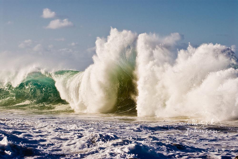 Wave hit by backwash, Snapper Rocks, Queensland, Australia