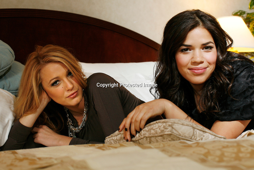 "Actresses Blake Lively and America Ferrera (R), stars of the film ""The Sisterhood of the Traveling Pants 2"" pose during a portrait session in New York, July 27, 2008. Photo by Keith Bedford"