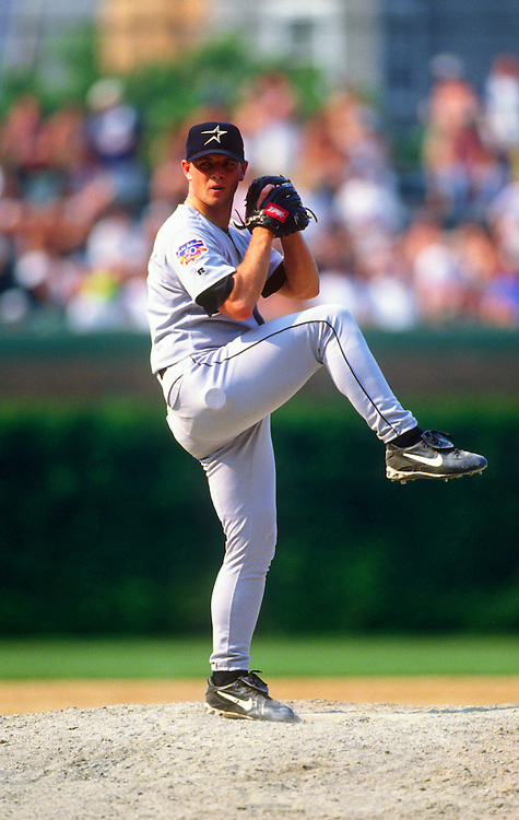 CHICAGO - 1997: Billy Wagner of the Houston Astros pitches during an MLB game against the Chicago Cubs at Wrigley Field in Chicago, Illinois.  Wagner pitched for the Astros from 1995-2003. (Photo by Ron Vesely)