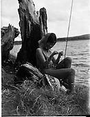 1962 - Dympna Doran, model from Italy, fishing at Blessington