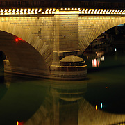 London Bridge pillar reflection in the waterway of Lake Havasu City, Arizona.