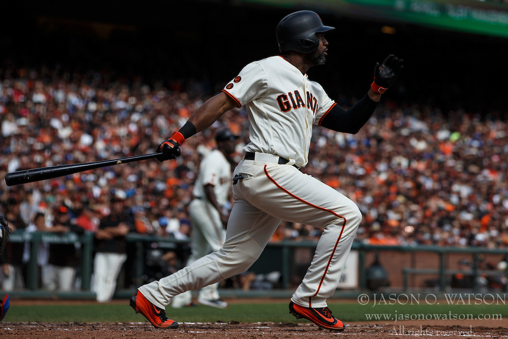 SAN FRANCISCO, CA - OCTOBER 02: Denard Span #2 of the San Francisco Giants hits a two run triple against the Los Angeles Dodgers during the second inning at AT&T Park on October 2, 2016 in San Francisco, California. The San Francisco Giants defeated the Los Angeles Dodgers 7-1. (Photo by Jason O. Watson/Getty Images) *** Local Caption *** Denard Span