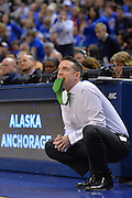 April 4, 2016; Indianapolis, Ind.; Ryan McCarthy watches nervously as his team shoots a free throw in the NCAA Division II Women's Basketball National Championship game at Bankers Life Fieldhouse between UAA and Lubbock Christian. The Seawolves lost to the Lady Chaps 78-73.