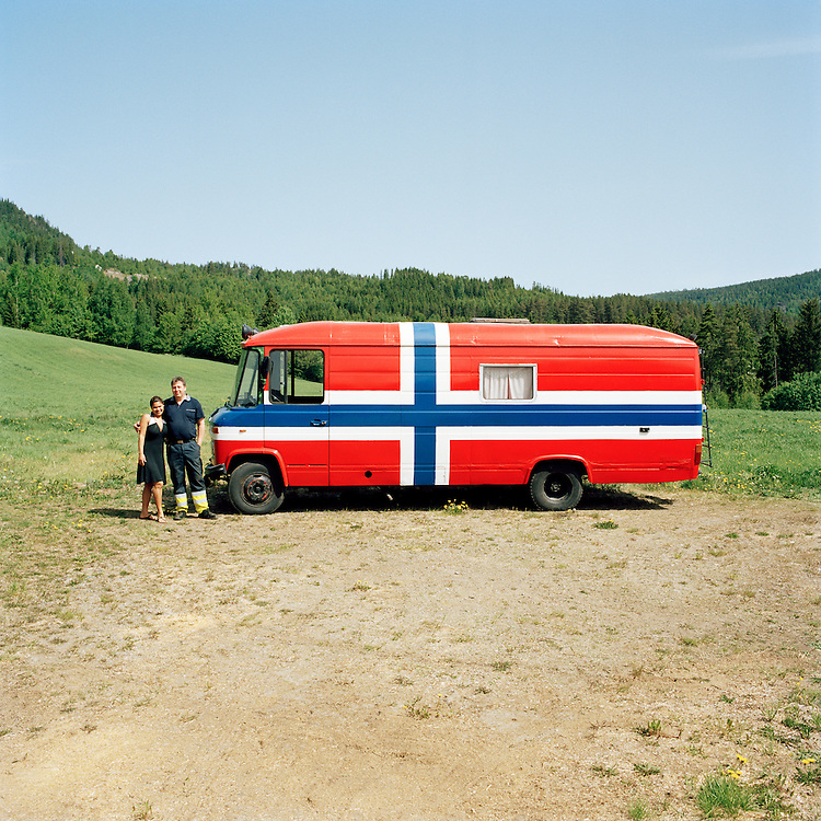 The bus at the farm Island, Norway. ..Photo by Knut Egil Wang /MOMENT
