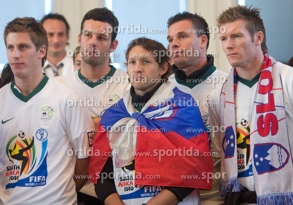 Valter Birsa, Samir Handanovic, Andrej Komac, Anton Zlogar and Matej Mavric at Reception of Slovenian National football team at president of Republic of Slovenia dr. Danilo Turk after Slovenia qualified for the FIFA World Cup South Africa 2010, in President's place , Ljubljana, Slovenia.   (Photo by Vid Ponikvar / Sportida)