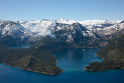 """Emerald Bay, Lake Tahoe Aerial 3"" - Photograph of Emerald Bay in Lake Tahoe, shot from an amphibious seaplane with the door removed. Cascade Lake can be seen on the left."