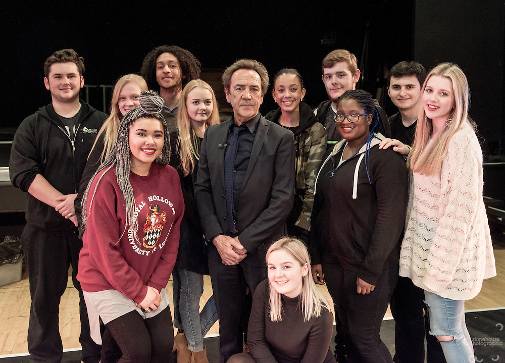 Robert Lindsay filming BBC &quot;Sixty Six&quot; documentary at his old College (Clarendon) in Nottingham where he studied acting 50 years ago in 1966.<br /> <br /> He met hairdressing students and chatted with current acting students before being re-united with fellow student and actor David Dixon.<br /> <br /> 12th, February.2016