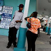 Shops along Woodes Rogers Walk near Bahamas Customs in Downtown Nassau in The Bahamas.