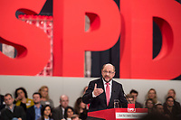 19 MAR 2017, BERLIN/GERMANY:<br /> Martin Schulz, SPD, haelt seine Rede vor seiner Wahl zum SPD Parteivorsitzenden und SPD Spitzenkandidat der Bundestagswahl, a.o. Bundesparteitag, Arena Berlin<br /> IMAGE: 20170319-01-024<br /> KEYWORDS: party congress, social democratic party, candidate, speech