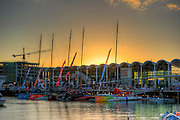The race yachts lined up at the dock during the Auckland stopover of the Volvo Ocean Race 2011-12. 16/3/2012