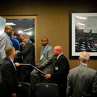 JACKSONVILLE, Fla, (November 8, 2012) -- NFL commissioner Roger Goodell speaks at a presser during a NFL game between the Jacksonville Jaguars and Indianapolis Colts in Jacksonville, Fla., on Thursday, November 8, 2012.   (PHOTO / CHIP LITHERLAND)