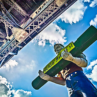 The Wilson&rsquo;s Carpet Muffler Man under the Pulaski Skyway in Jersey City.<br /> <br /> /// ADDITIONAL INFORMATION: 7/18/11 - travel.Lincoln.East.0929  - STUART PALLEY, ORANGE COUNTY REGISTER - Lincoln Highway July 2013.