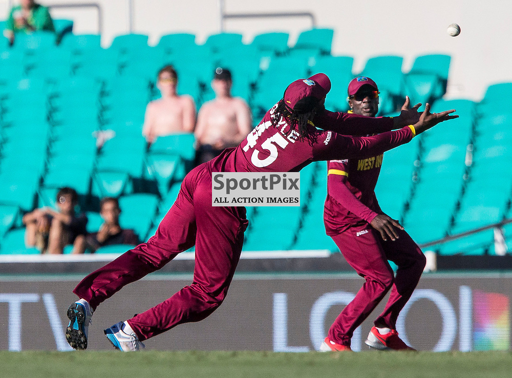 ICC Cricket World Cup 2015 Tournament Match, South Africa v West Indies, Sydney Cricket Ground; 27th February 2015<br /> West Indies Chris Gayle dives and drops a catch