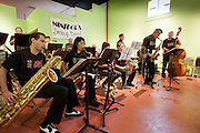 The Minidoka Swing Band performs in a vacant space in the Merchant Hotel Building during the Oregon Nikkei Endowment's Street Party, Old Town/Chinatown district, Portland, Oregon.