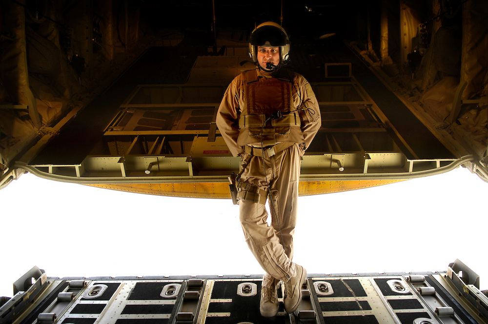 Staff Sgt. Brian Miliefsky waits for the engines of a C-130J Hercules aircraft to start during a mission in Afghanistan on April 29, 2008.