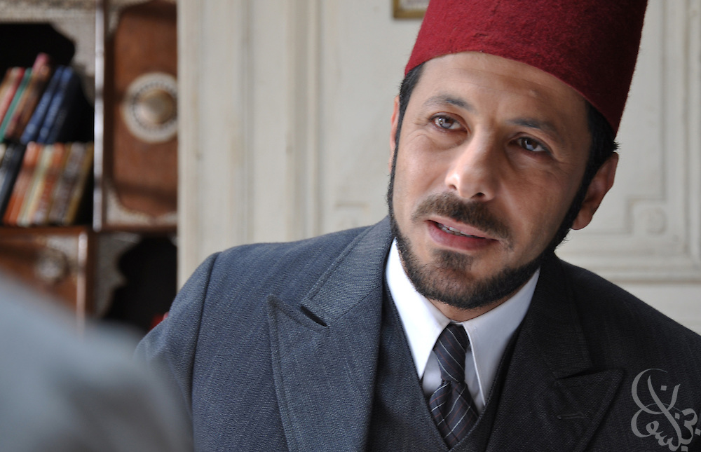 "Jordanian actor Eyad Nassar portrays Muslim Brotherhood founder Hassan al-Banna in a scene from the Egyptian television Ramadan miniseries entitled ""Al Gama'a"". The series is based on the formation and history of the Muslim Brotherhood in Egypt and was written by famed Egyptian screen writer Waheed Hamid."