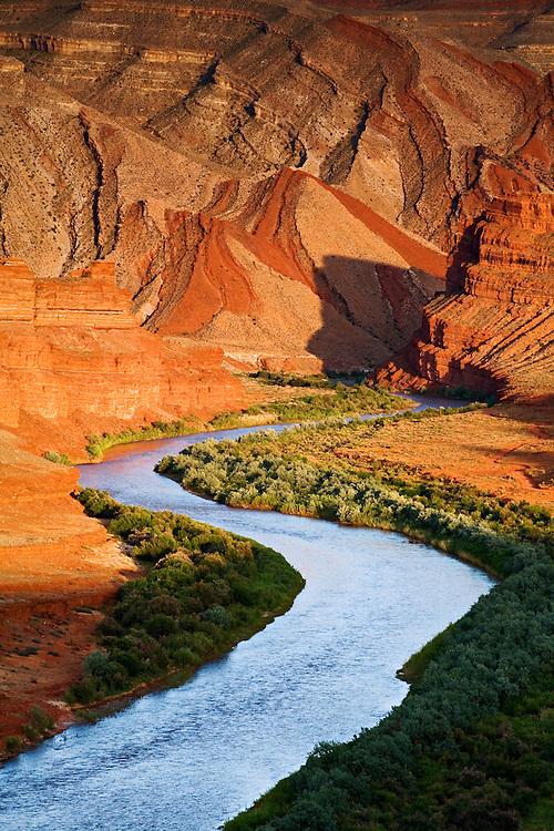 Looking down the San Juan River towards the Raplee Anticline near Mexican Hat, Utah.
