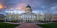 Sunrise over the Utah State Capitol building as the trees bloom in Spring.