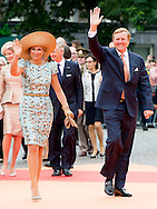 30-8-2014 - MAASTRICHT - Queen Maxima ,King Willem Alexander , King Philippe and Queen Mathilde of Belgium , Grand Duke Henri and Grand Duchess Maria Teresa of Luxembourg and Federal President of Germany Joachim Gauck and his partner, Daniela Schadt attend the celebrations at the Markt with the show Hello World! European fashion-art show  in Maastricht for the celebration to mark 200 years of the Kingdom.<br /> COPYRIGHT ROBIN UTRECHT