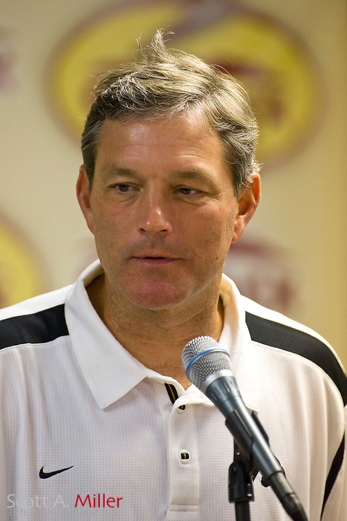 Jan 1, 2009; Tampa, FL, USA; Iowa Hawkeyes coach Kirk Ferentz during his press conference following his team's 31-10 win over the South Carolina Gamecocksin the Outback Bowl at the Raymond James Stadium. ©2009 Scott A. Miller