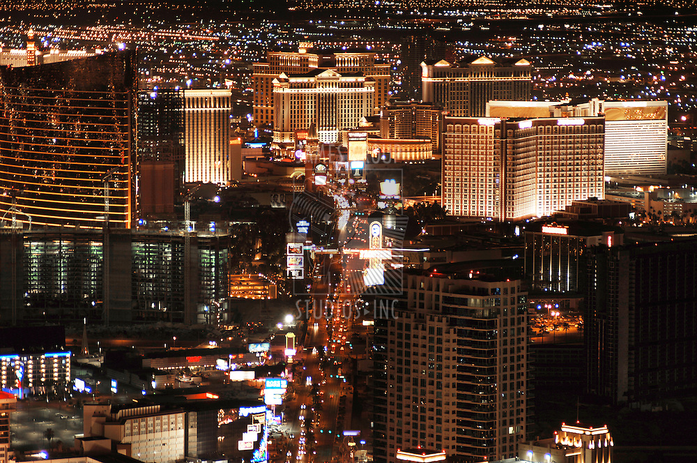 Las Vegas Skyline looking down the Strip at night