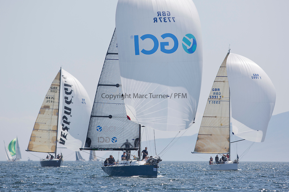 Final days' racing at the Silvers Marine Scottish Series 2016, the largest sailing event in Scotland organised by the  Clyde Cruising Club<br /> <br /> Racing on Loch Fyne from 27th-30th May 2016<br /> GBR7737R, Aurora, Rod Stuart / A Ram, CCC, Corby 37<br /> <br /> Credit : Marc Turner / CCC<br /> For further information contact<br /> Iain Hurrel<br /> Mobile : 07766 116451<br /> Email : info@marine.blast.com<br /> <br /> For a full list of Silvers Marine Scottish Series sponsors visit http://www.clyde.org/scottish-series/sponsors/