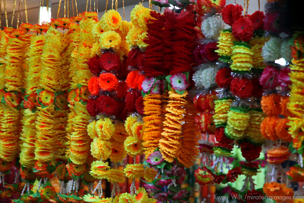 Asia, India, Delhi. Colorful flower garlands hang in Old Delhi.