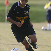 Newark FC Forward Diego Guzman (10) dribbles the ball up the field during a regular season soccer match between Newark and Delcastle Thursday, Oct. 22, 2015 at Delcastle in Wilmington.