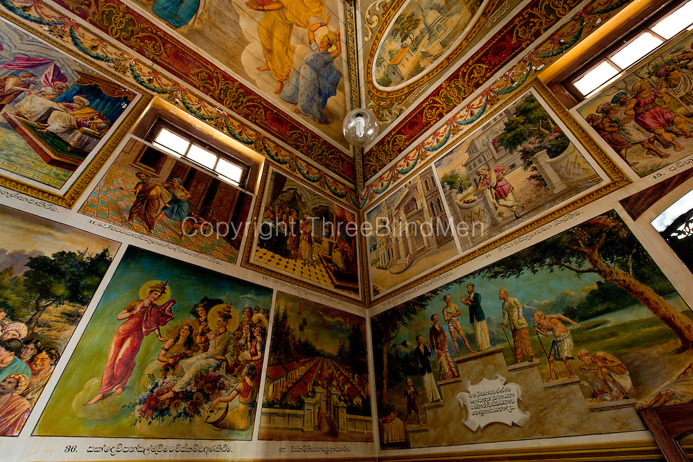 Fine paintings on the walls of the temple. Isipathanaramaya Buddhist Temple in Havelock Town, Colombo 5.