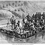 British in Afghanistan 1879 on river rafts near caves at Chicknour on the Cabool River Harper's Weekly 2, 1879