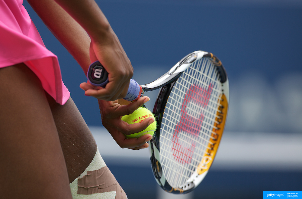 Venus Williams, USA, in action against Alisa Kleybanova, and Ekaterina Makarova, Russia, in the Women's doubles competition during the US Open Tennis Tournament at Flushing Meadows, New York, USA, on Thursday, September 10, 2009. Photo Tim Clayton