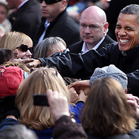 Concord , NH - 110412 -   Pres. Barack Obama greets the crowd during a campaign stop in downtown Concord, N.H., Sunday,  November 04, 2012.  Staff photo by Angela Rowlings